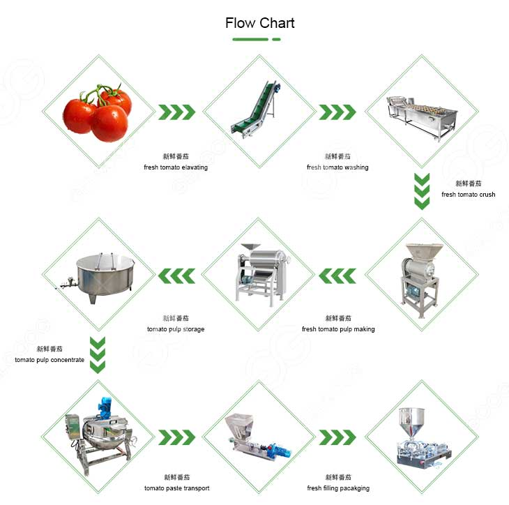 small scale tomato paste processing line flow chart