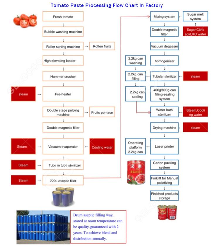 turkey tomato paste processing flow chart